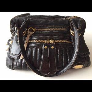 Chloe blk Vermilion Quilted Bay Bowler Bag Medium